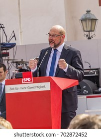 FRANKFURT, GERMANY - AUG 25, 2017: candidate for german cancellorship Martin Schulz helds a speech to his audience in Frankfurt at the Roemer place.