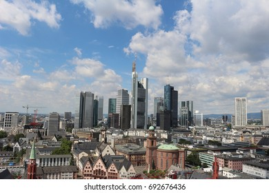 FRANKFURT, GERMANY - AUGUST 1, 2016: View of the Frankfurt skyline from the top of St. Bartholomew's