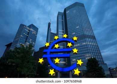Frankfurt, Germany - August 14, 2017: giant sculpture of the euro symbol, the european currency, located in the center of the city