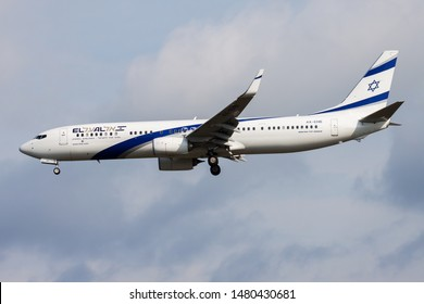 FRANKFURT / GERMANY - AUGUST 17, 2014: EL AL Israel Airlines Boeing 737-900 4X-EHB passenger plane landing at Frankfurt airport