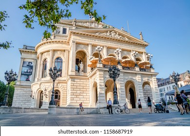 FRANKFURT / GERMANY - AUGUST 17 2018 :Close up of the old opera house at Opernplatz.