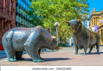 FRANKFURT, GERMANY, AUGUST 18, 2018: Statues of a bear and a bull in front of Stock Exchange building in Frankfurt, Germany