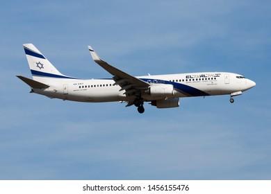 FRANKFURT / GERMANY - AUGUST 21, 2013: EL AL Israel Airlines Boeing 737-800 4X-EKT passenger plane landing at Frankfurt Airport