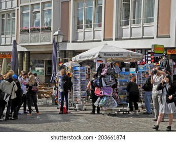 Frankfurt, Germany - August 28, 2011: a crowded souvenir shop at the city of Frankfurt near the cityhall 'Roemer'