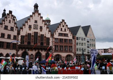 FRANKFURT, GERMANY - AUGUST 31, Israeli and Kurdish peaceful demonstration for stopping antisemitism and against ISIS on August 31 2014