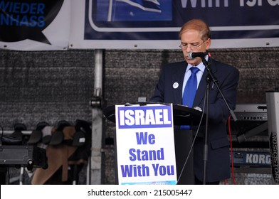 FRANKFURT, GERMANY - AUGUST 31,Israeli ambassador Yakov Hadas Handelsman speaking at Israeli and Kurdish peaceful demonstration for stopping antisemitism and against ISIS on August 31,2014
