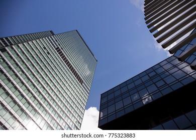 Frankfurt, Germany - August 8, 2017: Financial district. Modern architecture.