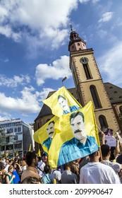 FRANKFURT, GERMANY - AUGUST 9, 2014: people demonstrate against murder and violation of kurdish people and killing by IS soldiers in Frankfurt, Germany.