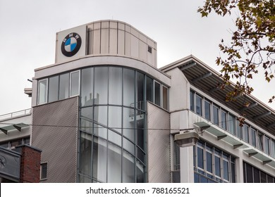 Frankfurt, Germany - CIRCA, 2017: BMW automobile dealership sign on the facade of the showroom building located in Frankfurt, Germany. BMW is a German automobile, motorcycle and engine manufacturing.