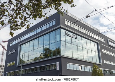 Frankfurt, Germany - CIRCA, 2017: Fitness First sign on the facade of the building located in Frankfurt, Germany. Fitness First is the largest privately owned health club group in the world.