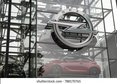 Frankfurt, Germany - CIRCA, 2017: Models of the Opel car Adam are seen in a glass tower outside the Opel showroom in Frankfurt am Main, Germany