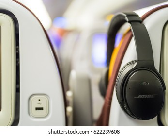 Frankfurt, Germany - Circa November 2016 - Noise cancellation headphones in the airplane