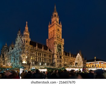 FRANKFURT, GERMANY - DECEMBER 1: Munich Christmas Market at Marienplatz on December 6 2013. Munich's Christmas Market is one of Germany's oldest Christmas fairs dating back to the 16th century.