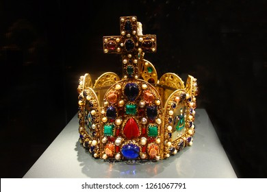 Frankfurt, Germany - December 16, 2018: Imperial Crown of Holy Roman Empire (replica), hoop crown (Bügelkrone) of Holy Roman Emperor from 11th century to 1806 and used in coronation of King of Romans.