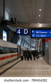 FRANKFURT, GERMANY - DECEMBER 31: A long-distance train is standing at the station Frankfurt Main airport on December 31, 2017 in Frankfurt.