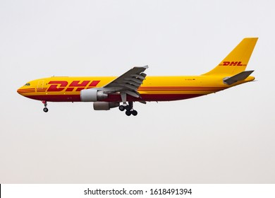 FRANKFURT / GERMANY - DECEMBER 7, 2012: DHL Aviation Airbus A300 D-AEAL cargo plane landing at Frankfurt Airport