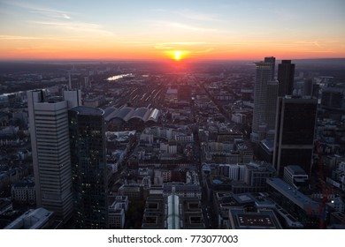 frankfurt germany evening sundown from above