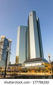 FRANKFURT, GERMANY - FEB 11: Skyline with the 155 meter high twin towers Deutsche Bank I and II on Feb 11, 2012 in Frankfurt.
