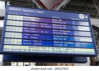 FRANKFURT, GERMANY - FEB 24, 2015: Board Schedules inside the Frankfurt central station in Frankfurt, Germany. With about 350.000 passengers per day its the most frequented railway station in Germany.