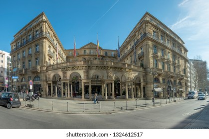 FRANKFURT, GERMANY- FEB 25, 2019: Luxury Hotel Steigenberger Frankfurter Hof in Frankfurt am Main, Hesse, Hessen, Germany.