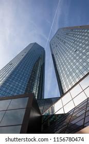 FRANKFURT, GERMANY - FEB 9, 2011: Deutsche Bank headquarters tower, a modern skyscraper in the center of Frankfurt, Germany.