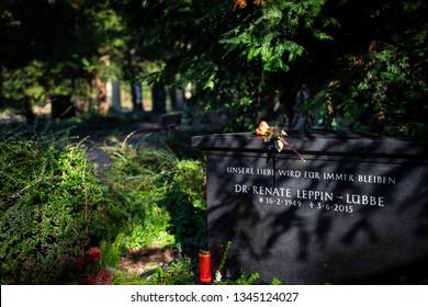 Frankfurt, Germany - February 05, 2019: The cemetery Hauptfriedhof in Frankfurt
