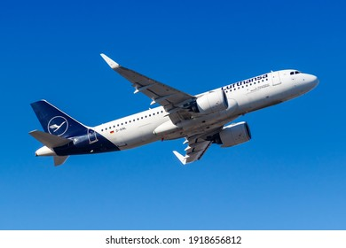 Frankfurt, Germany - February 13, 2021: Lufthansa Airbus A320neo airplane at Frankfurt Airport (FRA) in Germany. Airbus is a European aircraft manufacturer based in Toulouse, France.