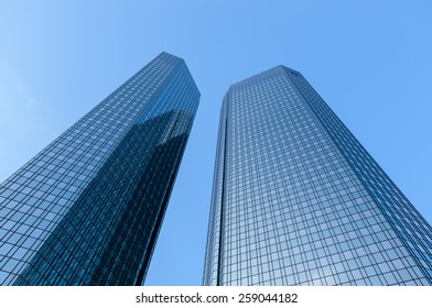 FRANKFURT, GERMANY - FEBRUARY 14, 2015: The Deutsche Bank Twin Towers, also known as Deutsche Bank Headquarters, is a twin tower skyscraper complex in Frankfurt, Germany.