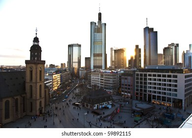 FRANKFURT, GERMANY - FEBRUARY 20: view to skyline of Frankfurt with Hauptwache and skyscraper at sunset on February 20,2010 Frankfurt,Germany