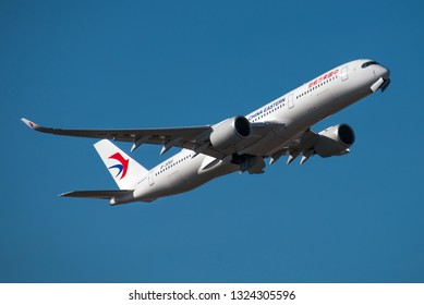 FRANKFURT / GERMANY - FEBRUARY 2019 China Eastern Airlines Airbus A350-941, B-305X, cn 269 starting a flight to Shanghai.