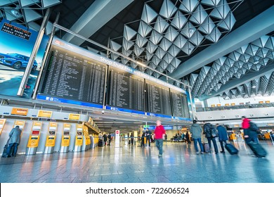 FRANKFURT, GERMANY - February 25, 2017: Inside of Frankfurt Airport. Frankfurt Airport is a major international airport located in Frankfurt and the major hub for Lufthansa
