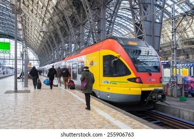 FRANKFURT, GERMANY - JAN 11, 2015: Long distance train at platform of Frankfurt's main railroad station