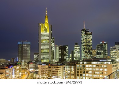 FRANKFURT, GERMANY - JAN 21, 2015: view to skyline of Frankfurt with Hauptwache on in Frankfurt, Germany. The Hauptwache is a central point and one of the most famous plazas in town.