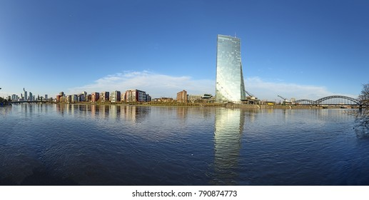 FRANKFURT, GERMANY - JAN 9, 2018: panoramic view to hafenpark in ostend, frankfurt am Main, Germany with new building of ECB, inaugurated in 2015.