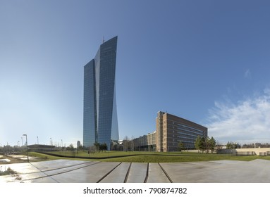 FRANKFURT, GERMANY - JAN 9, 2018: panoramic view of new ECB building in ostend, frankfurt am Main with memorial of the jews deported from the former train station Ostbahnhof.
