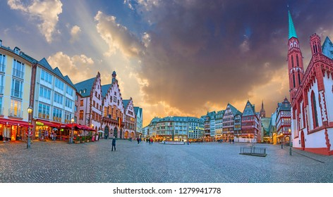 FRANKFURT, GERMANY - JAN 9, 2019: Old town square Romerberg with tourists in Frankfurt (Frankfurt am Main). 2017 in Germany. Romerberg is the central and most beautiful square in Frankfurt's Old Town