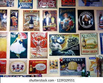 Frankfurt, Germany - January 20, 2018: Exhibition of decorative metal signs in retro style. Frankfurt, Germany.
