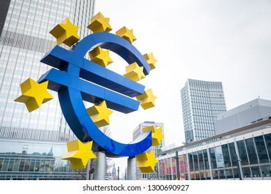Frankfurt, Germany - January 22, 2019: Euro Sign. European Central Bank (ECB) is the central bank for the euro and administers the monetary policy of the Eurozone in Frankfurt, Germany.