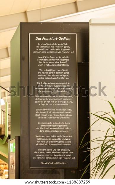 Frankfurt Germany Jul 19 2018 Poem Stock Photo Edit Now