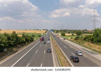 FRANKFURT, GERMANY - JUL 23, 2018:  german autobahn traffic on the a5 highway near frankfurt direction Kassel.