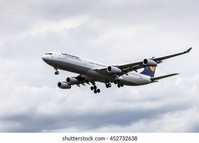 FRANKFURT, GERMANY - JULY 12, 2016: Airbus A340-300  from the Lufthansa airline approaching Frankfurt Main international airport