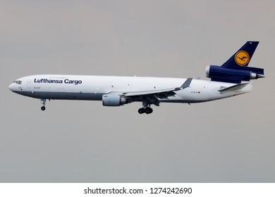 FRANKFURT / GERMANY - JULY 15, 2018: Lufthansa Cargo McDonnell Douglas MD-11 D-ALCE cargo plane landing at Frankfurt Airport