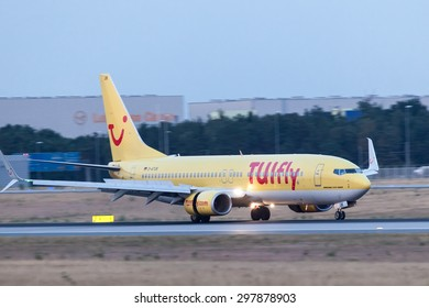 FRANKFURT, GERMANY - JULY 17: Boeing 737-800 of TUIfly Airlines after landing at the Frankfurt International Airport. July 17, 2015 in Frankfurt, Germany