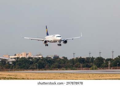 FRANKFURT, GERMANY - JULY 18: Lufthansa Airbus A320-200 aircraft landing at the Frankfurt International Airport. July 18, 2015 in Frankfurt, Germany