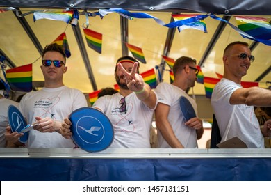 Frankfurt, Germany - July 20, 2019: People are celebrating at the Christopher Street Day in Frankfurt.