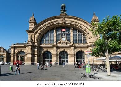 Frankfurt, Germany. July 2019.   the facade of the Frankfurt Hauptbahnhof railway station building
