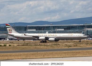 FRANKFURT, GERMANY - JULY 21: Etihad Airways Airbus A340 at the Frankfurt International Airport (FRA). July 21, 2015 in Frankfurt Main, Germany