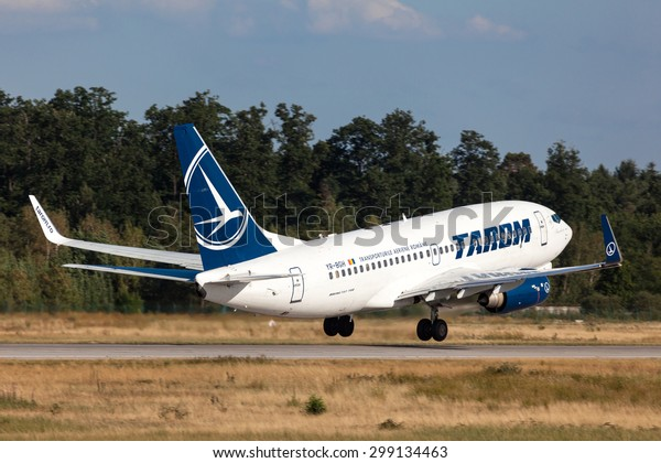 FRANKFURT, GERMANY - JULY 21: Tarom Airlines Boeing 737-700 starting from the Frankfurt International Airport (FRA). July 21, 2015 in Frankfurt Main, Germany