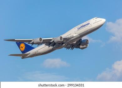 FRANKFURT, GERMANY - JULY 21:Lufthansa Boeing 747-8 starting from the Frankfurt International Airport (FRA). July 21, 2015 in Frankfurt Main, Germany