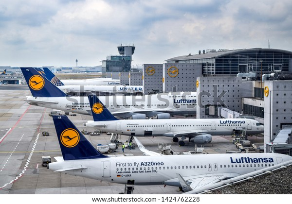 Frankfurt, Germany - July 24, 2016: Aerial view of Lufthansa aircraft parked at Frankfurt Airport (FRA), which serves as the largest hub for Lufthansa.